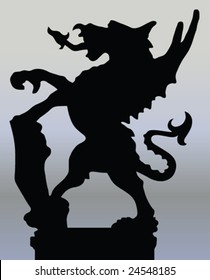 City of London dragon silhouette - vector