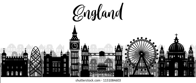 City of London, England with world famous landmarks and city skyline, vector silhouette illustration