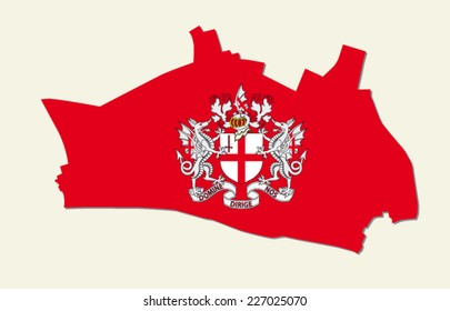 city of london map with coat of arms