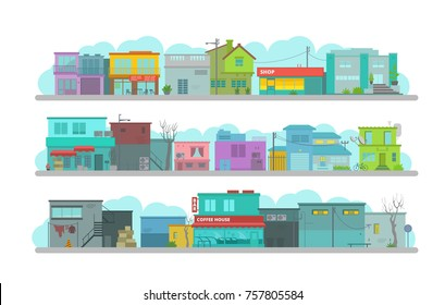 City long street. Set of architecture town buildings. Flat vector graphics. A lot of various details happy bright flat vector