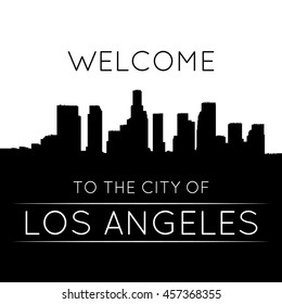 The city of Los Angeles. Black and white silhouette and lettering.