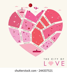 The City of Love Background, Vector illustration