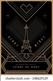 City of love Wedding invitation/ Valentines Day proposal card/ art deco