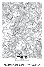City map Athens, travel vector poster design detailed plan of the city, rivers and streets
