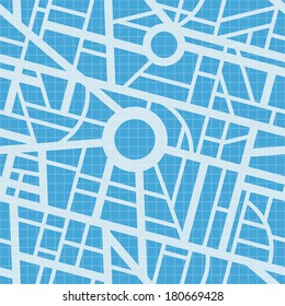 City map blueprint. Vector seamless pattern. Roads, navigation, GPS. Simple design. Use for pattern fills, surface textures web page background, wallpaper. Easy to edit.