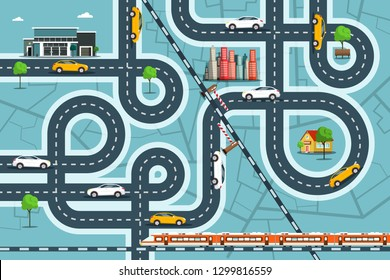 City Map with Cars on Roads. Top View Town Life with Railroad, Streets and Buildings. Vector Overhead Landscape Design.