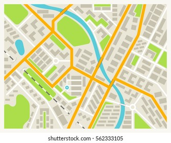 City map colored illustration for navigation program or mobile app. City layout map vector illustration