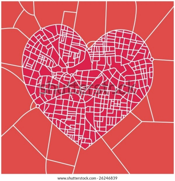 City map with detailed streets in heart shape - vector illustration with layers