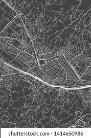 City map Florence, monochrome detailed plan, vector illustration