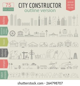 City map generator. Elements for creating your perfect city. Outline version. Vector illustration