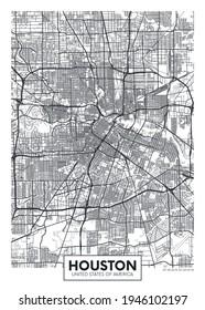 City map Houston, travel vector poster design