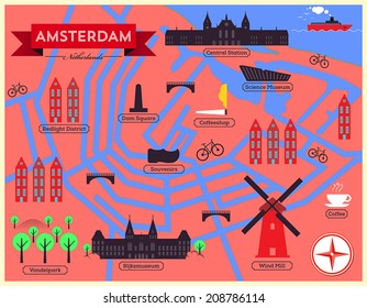 City Map Illustration of Amsterdam. Landmarks and Vector Map Icons.