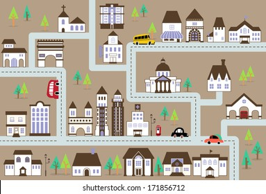 City map illustration with a variety of buildings, grocery shop,school,hospital,house,city hall,church, etc.