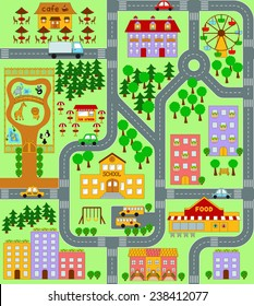 City Map for Kids seamless vector pattern