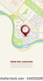City map navigation banner, point marker background, simple vector drawing city plan GPS navigation, itinerary destination arrow paper city map banner. Route delivery check point infographic banner