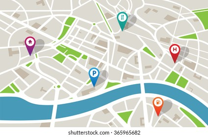 City map with navigation icons