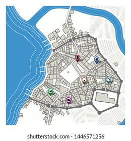 City map with navigation pins