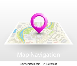 City map navigation pointer, color point markers design background, vector drawing schema, 3D simple city plan GPS navigation, final destination arrow on paper city map. Route of delivery check point