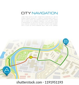 City map navigation route, color point markers design background, vector drawing schema, simple city plan GPS navigation, itinerary destination arrow paper city map. Route delivery check point graphic