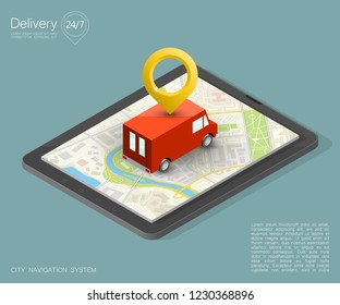 City map navigation route, phone point delivery van, vector isometric schema itinerary delivery car, city plan GPS navigation, itinerary destination arrow city map. Route delivery truck check point