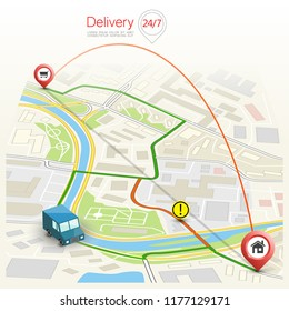 City map navigation route, point markers delivery van, vector drawing schema itinerary delivery car, city plan GPS navigation, itinerary destination arrow city map. Route delivery check point graphic