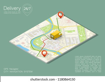 City map navigation route, point markers delivery van, vector isometry schema itinerary delivery car, city plan GPS navigation, itinerary destination arrow city map. Route delivery check point graphic