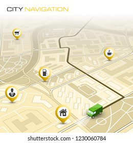 City map navigation route, point markers delivery van, vector schema itinerary delivery car, city plan GPS navigation, itinerary destination arrow city map. Route delivery truck check point graphic