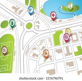 City Map With Navigation Vectors
