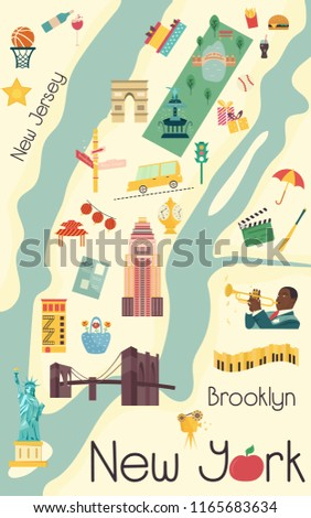 City Map New York Famous Attractions Stock Vector Royalty Free