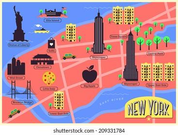 Map Of New York Landmarks.Vectores Imagenes Y Arte Vectorial De Stock Sobre Central