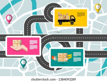 City Map with Pins on Streets and Delivery Service App Points.