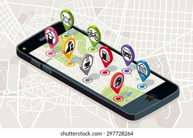 City map with pins showing varied business services icons above a smart-phone.