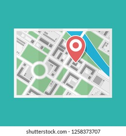 City Map with red pin. Location map icon isolated on white background. GPS, navigation concept. Vector illustration in flat style. EPS 10.