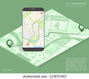 City map route navigation smartphone, phone point marker, vector drawing schema, isometric city plan GPS navigation tablet, itinerary destination arrow paper city map. Route isometric check point