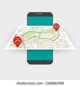 City map route navigation smartphone, phone point marker, vector drawing schema, simple city plan GPS navigation tablet, itinerary destination arrow paper city map. Route delivery check point graphic