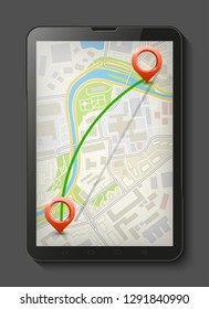 City map route navigation smartphone front view, phone point marker vector drawing schema, city plan GPS navigation tablet, itinerary destination arrow flat city map. Route color check pin itinerary