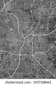 City map San Antonio, monochrome detailed plan, vector illustration