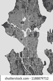 City map Seattle, monochrome detailed plan, vector illustration
