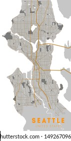 City map Seattle, monochrome detailed plan, vector illustration. Washington.