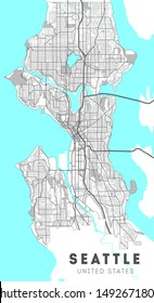 City map Seattle, travel vector poster design. Washington.