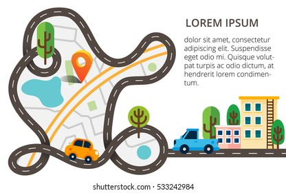 City map top view with orange pin, winding road and cars. Colorful vector illustration with small town, trees and path. Can used for web, banners, brochures.