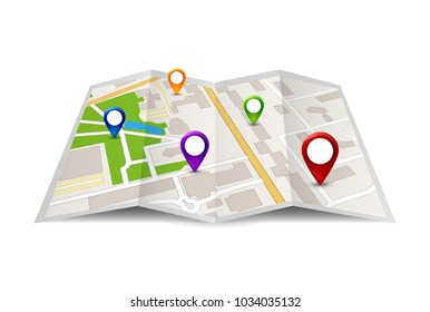 City Map vector icon illustration. Travel city street symbol. Map design with gps pin sign.