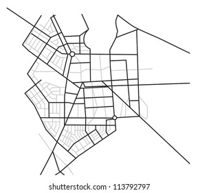 city map  - vector scheme of roads