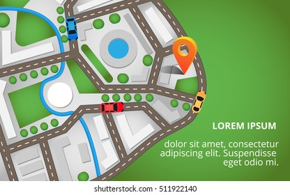 City map view from above with a lot of roads, cars and orange pin. It can be used for banners, brochures and info graphic