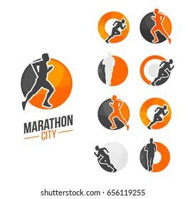 City marathon branding with run man silhouette in different poses