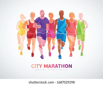 City marathon, colorful template poster. Vector illustration