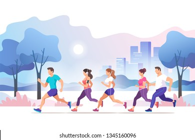 City marathon. Group people running in the city public park. Healthy lifestyle. Trendy style vector illustration.