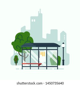 City mass transit system concept vector design element featuring bus stop with abstract cityscape in the background