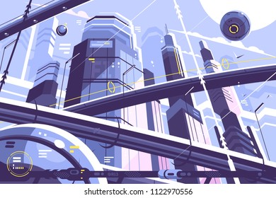 City metropolis of future with skyscrapers and hyperloop. Vector illustration