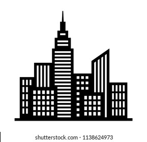 City metropolis skyline silhouette with tall buildings and high rises flat vector icon for apps and websites
